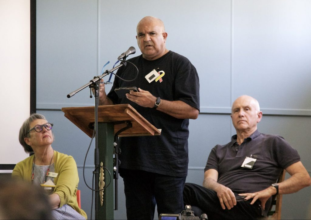 Uncle Alan Coe. Sharing his story and speaking of his work with Aboriginal men leaving prison